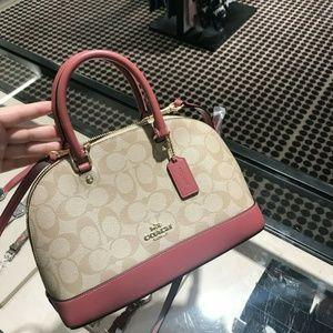 Coach Mini Sierra Signature Satchel Bag Khaki Roug